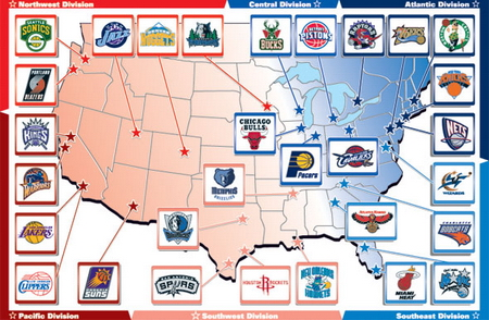 Current layout of NBA teams